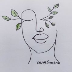 girl face with branches growing from the eyes