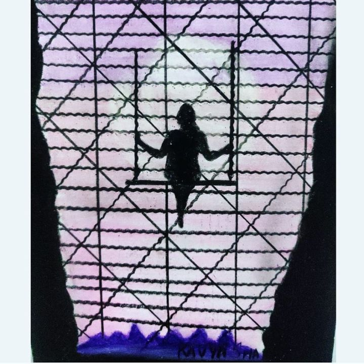 Girl Taking a swing on the sky with restrictions