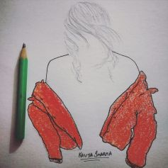 Girl with off-shoulder orange open jacket