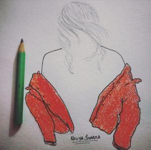 Girl with off-shoulder orange open jacket