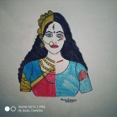 half Durga Maa, half tortured girl